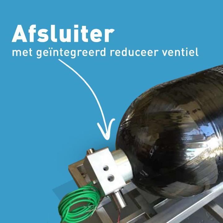 De afsluiter met reduceerventiel wordt standaard met de waterstof fles meegeleverd